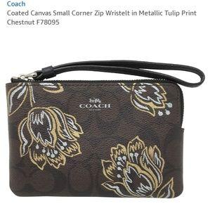 NWT Coach Metallic tulips print corner zip wristle